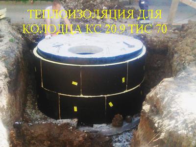 Комплект для утепления колодцев состоит из нескольких сегментов одинаково размера, снаружи сегменты для теплоизоляции колодцев имеют защитно-покровный слой